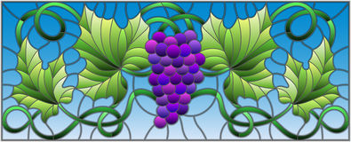 Stained glass illustration with a bunch of red grapes and leaves on sky background,horizontal orientation. The illustration in stained glass style painting with Royalty Free Stock Photography