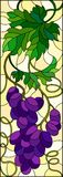 Stained glass illustration  with a bunch of red grapes and leaves on a yellow  background,vertical image. The illustration in stained glass style painting with a Royalty Free Stock Image