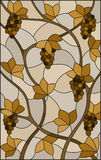 Stained glass illustration with a bunches of  grapes and leaves ,brown tone, sepia. The illustration in stained glass style painting with a bunches of  grapes Royalty Free Stock Photography