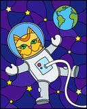 Stained glass illustration with cartoon funny cat astronaut on the background of the cosmos, stars and earth. Illustration in stained glass style with cartoon royalty free illustration