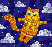 Illustration in Stained glass style    of a cartoon red  cat  on the background of  starry sky and clouds. Stained glass illustration of a cartoon red  cat  on royalty free illustration
