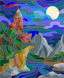 Stained glass illustration with castle in the background of the night sky. Illustration in stained glass style landscape with old castle on the background of sky Stock Image