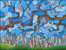 Stained glass illustration  with the cherry blossoms on a background of mountains and  sky Royalty Free Stock Photography