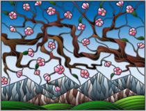 Stained glass illustration with the cherry blossoms on a background of mountains and  sky Stock Photography