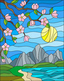 Stained glass illustration  with the cherry blossoms on a background of mountains, sky , sun  and the sea Royalty Free Stock Photos