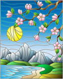 Stained glass illustration with the cherry blossoms on a background of mountains, sky , sun  and the sea Royalty Free Stock Photography