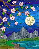 Stained glass illustration with the cherry blossoms on a background of mountains,starry sky , moon  and the sea Stock Image