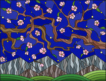 Stained glass illustration with the cherry blossoms. Illustration in stained glass style with the cherry blossoms on a background of mountains and starry sky Stock Photo