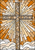 Stained glass illustration  with the Christian cross on a background of sky and clouds , brown tone, Sepia Stock Image
