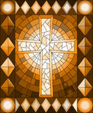 Stained glass illustration  with a Christian cross,frame, brown tone, Sepia. Illustration in stained glass style with a Christian cross,frame, brown tone, Sepia Royalty Free Stock Photos