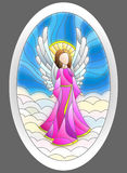 Stained glass illustration with Christmas angel in the shape of an oval Stock Images
