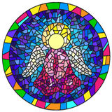 Stained glass illustration Christmas angel Stock Photos
