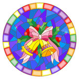 Stained glass illustration with Christmas bells in the shape of a circle. Illustration in stained glass style with Christmas bells, Holly branches and bow on Royalty Free Stock Images