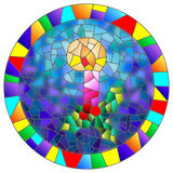 A stained glass illustration on a Christmas theme with candles in the shape of a circle Royalty Free Stock Photos