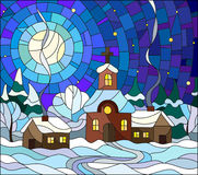 Stained glass illustration of Church and village houses on the background of snow, sky and moon Stock Image