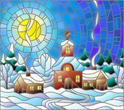 Stained glass illustration Church and village houses on the background of snow, sky and sun Stock Images