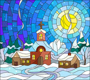 Stained glass illustration Church and village houses on the background of snow, sky and sun Royalty Free Stock Photo