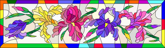 Stained glass illustration with colored irises in a bright frame. Illustration in stained glass style with flowers, buds and leaves of iris Stock Photography