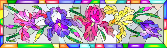 Stained glass illustration with colored irises in a bright frame. Illustration in stained glass style with flowers, buds and leaves of iris Stock Image
