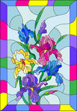 Stained glass illustration with colored irises in a bright frame. Illustration in stained glass style with flowers, buds and leaves of iris Stock Images