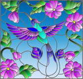 Stained glass illustration  with colorful Hummingbird on background of the sky ,greenery and flowers Royalty Free Stock Photo
