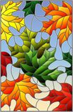 Stained glass illustration  with colorful leaves  maple trees on a blue background. Illustration in stained glass style with colorful leaves Stock Images