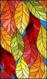 Stained glass illustration  with colorful leaves  trees on a blue background. Illustration in stained glass style with colorful leaves Royalty Free Stock Image