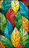 Stained glass illustration  with colorful leaves  trees on a dark background. Illustration in stained glass style with colorful leaves Royalty Free Stock Photography