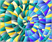 Stained glass illustration with colorful tiles arranged in a spiral Stock Image