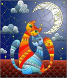 Stained glass illustration A couple of cats sitting on the roof against the starry sky and the moon. A couple of cats in stained glass abstract style sitting on vector illustration