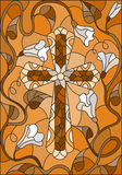 Stained glass illustration  with a cross in the sky and flowers,brown tone , Sepia Royalty Free Stock Images