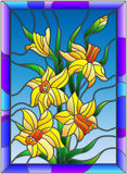 Stained glass illustration  with daffodils on blue background in a bright blue frame Royalty Free Stock Photography