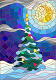 Stained glass illustration decorated Christmas tree on the background of snow and night sky with the moon Royalty Free Stock Photos