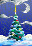 Stained glass illustration , decorated Christmas tree on the background of snow and night sky with the moon Royalty Free Stock Photos