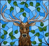 Stained glass illustration with deer head,on the background of tree branches and the sky, a rectangular image Royalty Free Illustration