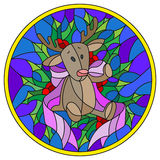Stained glass illustration with a deer toy, ribbon and Holly branches  on a blue background, round picture frame Stock Photo
