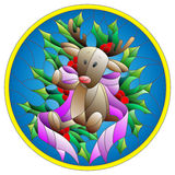 Stained glass illustration  with a deer toy, ribbon and Holly branches  on a blue background, round picture frame Royalty Free Stock Image