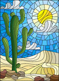 Stained glass illustration with desert landscape, cactus in a lbackground of dunes, sky and sun Stock Photography