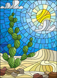 Stained glass illustration with desert landscape, cactus in a lbackground of dunes, sky and sun Royalty Free Stock Photo