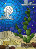 Stained glass illustration with desert landscape, cactus in a lbackground of dunes, starry sky and moon Royalty Free Stock Photos