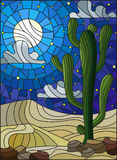 Stained glass illustration  with desert landscape, cactus in a lbackground of dunes, starry sky and moon Stock Photography