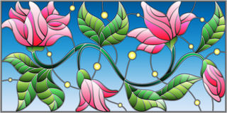 Stained glass illustration e with abstract pink flowers on a blue background Stock Images