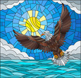 Stained glass illustration eagle on the background of sky, sun , clouds and water Stock Photos