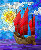 Stained glass illustration The Eastern ship with red sails on the background of sky, sun and ocean stock illustration