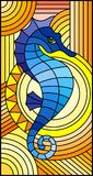 Stained glass illustration with fabulous abstract blue fish seahorse, fish on orange background. Illustration in stained glass style with fabulous abstract blue stock illustration