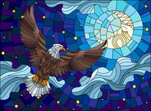 Stained glass illustration  with fabulous eagle and moon on background night star sky and clouds. Illustration in stained glass style with fabulous eagle and Royalty Free Stock Image