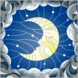 Stained glass illustration  with the fabulous moon with a face against the sky and clouds Stock Image