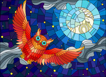 Stained glass illustration with fabulous red owl and moon on background night star sky and clouds Royalty Free Stock Image