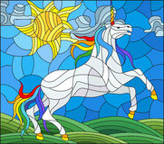 Stained glass illustration  with fabulous white unicorn galloping on the green meadow on the background of the cloudy sky and sun. Illustration in stained glass Stock Image