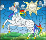 Stained glass illustration with fabulous white unicorn galloping on the green meadow on the background of the cloudy sky and sun. Illustration in stained glass Royalty Free Stock Image